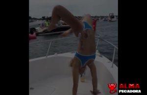 Vídeo de humor de una acróbata en un yate