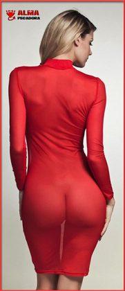 Preciosa rubia con vestido rojo luciendo transparencias y enseñando el culo
