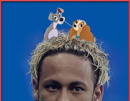 Entre los memes más divertidos del Mundial de Rusia destacamos a la Dama y el Vagabundo comiendo sobre la cabeza de Neymar