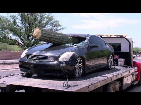 El impacto con el cactus gigantes hizo que se llevara el coche la grúa